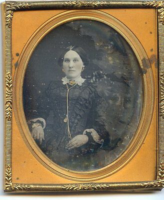 Antique Daguerreotype Rich Pretty Lady Gold Painted Jewelery