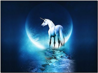 Beautiful Fantasy Unicorn Moon and River Horse Canvas Print Poster 24X16""