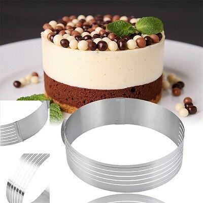Adjustable Round Stainless Steel Cake Ring Mold Layer Slicer Cutter DIY WD