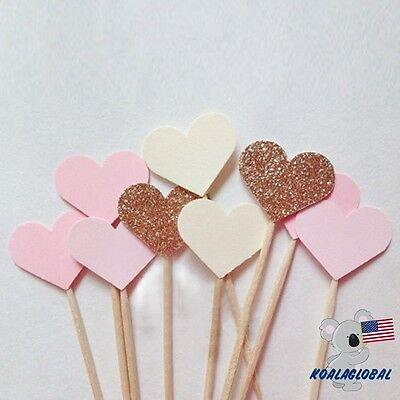 10PCS/set Heart Cupcake Toppers Birthday Wedding Girl Baby Shower Decor Handmade