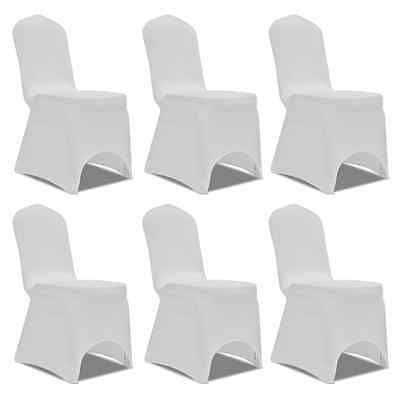 6 pcs White Lycra Spandex Stretch Chair Covers Wedding Party Banquet Decoration