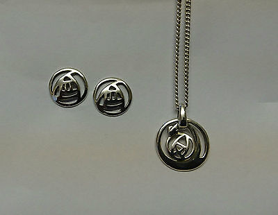 Art Deco Genuine Sterling Silver Necklace And Earrings Set