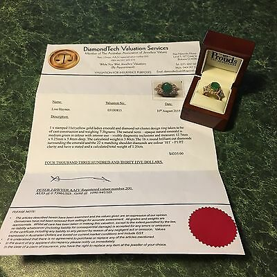 10ct Yellow Gold Ladies Cluster Ring Pure Natural Emerald Diamond 1.20cts  New
