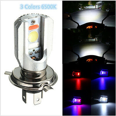 H4 Motorcycle COB LED Headlight Hi/Lo Beam Front Light Bulb Lamp 3 Colors 6500K