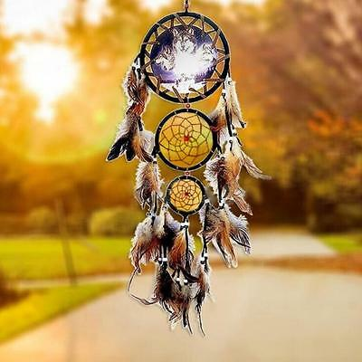 New Handmade Dream Catcher With Feathers Wall Hanging Decoration Ornament Wolf