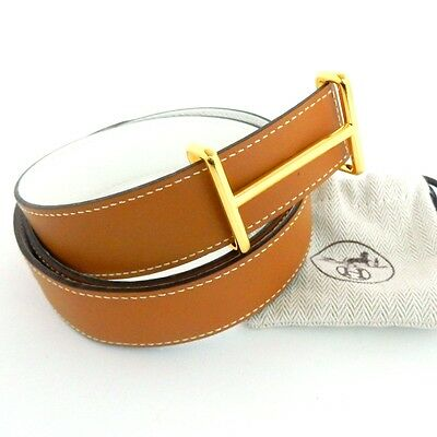 AUTHENTIC HERMES Belt Gold Tone H Buckle Belt Kits 32 Leather Brown White
