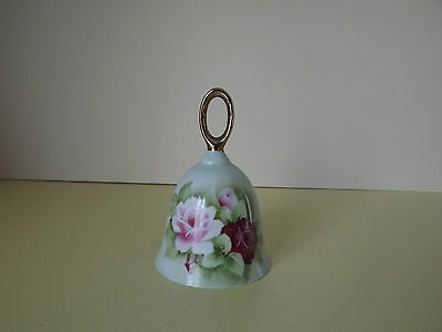 Porcelain Hand Bell with Pink Roses