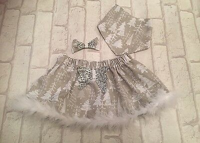 Handmade Girls Christmas Skirt 6-12 Months Baby Toddler Glitter Bow Bib Clip
