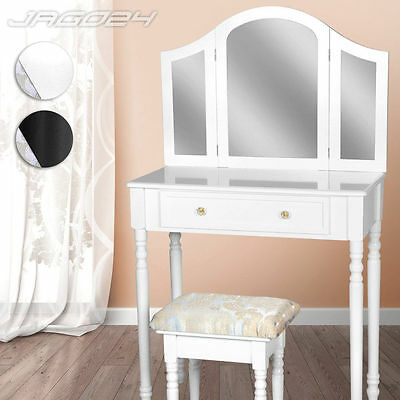 Dressing Table with Mirror and Footstool Make Up Vintage Desk Bedroom Furniture