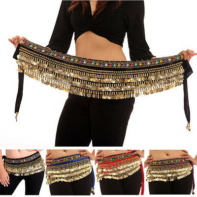 Belly Dance Hip Scarf Carnaval Danse Gemstone Velvet Ceintures avec Golden Coins