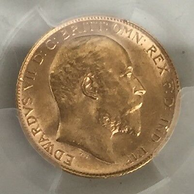 1910 gold half sovereign PCGS 62
