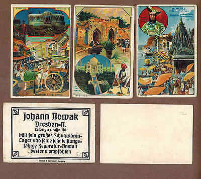 INDIA: Collection of RARE Victorian Trade Cards from GERMANY (1900)S