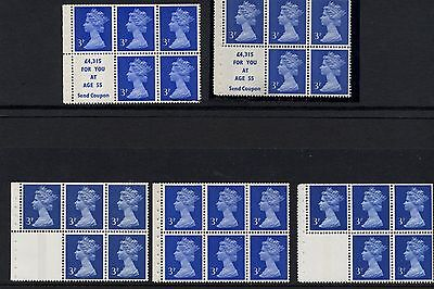 Selection of five different 3p booklet panes MNH