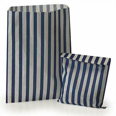 """100 Dark Blue 10"""" x 14"""" Candy Stripe Sweet Counter Paper Bags Loot Birthday Gift"""