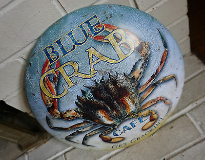 BLUE CRAB CAFE Seaside Seafood Restaurant Beach Bar Home Round Decor Sign NEW