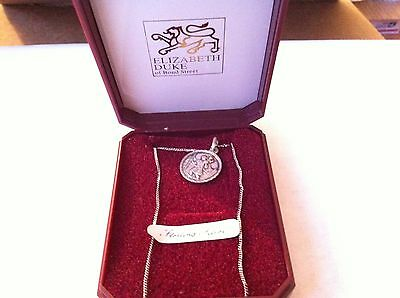 VINTAGE SILVER CHRSTOPHER MEDAL CHARM NECKLACE IN ORIGINAL PACKAGE from the 60's