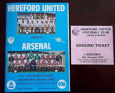 HEREFORD UNITED v ARSENAL FA CUP PROGRAMME 5th JANUARY 1985 VERY GOOD CONDITION