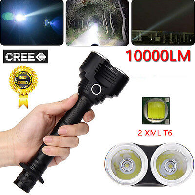 10000 Lumens 500m 5 Modes 2X XM-L T6 LED Adjustable Flashlight Torch Lamp Light