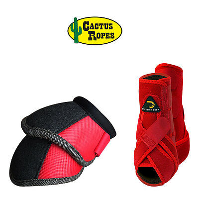 Medium Cactus Dynamic Edge Horse Front Leg Sport Bell Boots Pair Combo Red