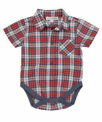 Nursery Time Check Shirt Vest - Wine Red