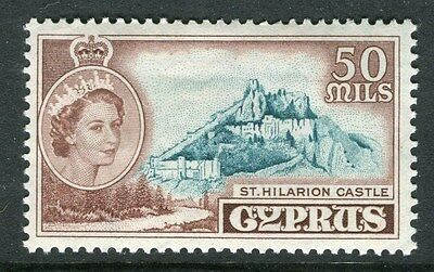 CYPRUS;  1955 early QEII issue fine Mint hinged 50m. value