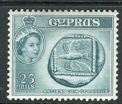 CYPRUS;  1955 early QEII issue fine Mint hinged 25m. value