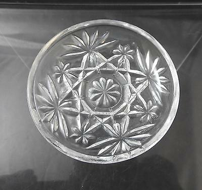 "Vintage Anchor Hocking Coaster Prescut Clear Glass Oatmeal Star Fan 3 3/4"" W22"