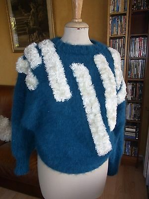 "PULL ""Noblesse oblige"" MOHAIR ANGORA  T36/38 VINTAGE 80 ANGORA PULLOVER size S"