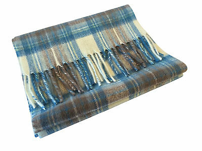 Scottish 100% Lambswool Stewart Muted Blue Tartan Scarf Brand New With Tags