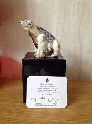 ROYAL CROWN DERBY 'Aurora Polar Bear' Paperweight, Gold Stopper, Excellent Cond.
