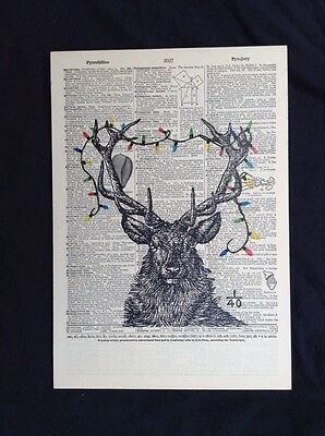 Collage Vintage Dictionary Art Reindeer Christmas Decoration Made In USA 1/40