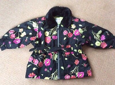 GIRLS NEXT BLACK & PINK FLORAL QUILTED COAT JACKET SIZE AGE 2 YEARS 92 cm