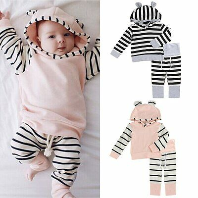 Newborn Infant Baby Boy Girls Clothes Hooded T-shirt Tops+Pants 2pcs Outfits Set