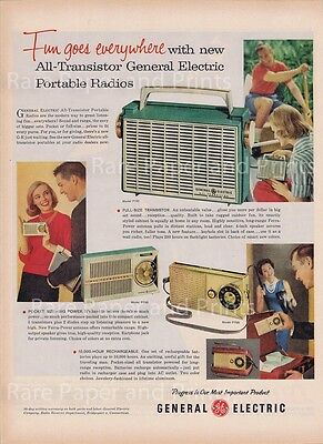Transistor Portable Radio 1958 General Electric Vintage Original Color Print Ad