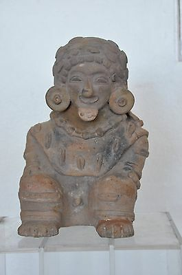 Pre-columbian Jama Coaque Water Vessel with Figure of Seated Male, Ecuador