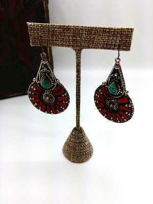 """2.5"""" Coral and Turquoise Earrings from Nepal Boho Ethnic Jewelry"""