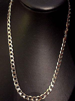 """20""""  Heavy Curb Link Solid 9Ct Gold Chain ** Full Uk Hallmark**"""
