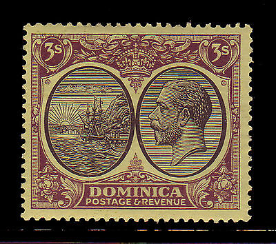 Dominica. Sg 86, 3/- Black & Purple/yellow. Mounted Mint.