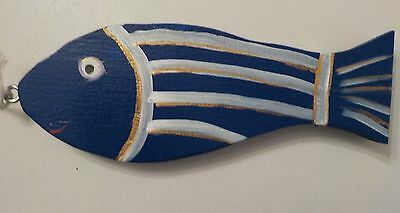 "Hand Painted Wood Fish Approx 6 1/4"" Long - Fun Decoration - Nautical"
