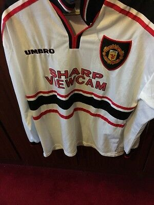 Manchester United Away Shirt 1997 To 1999 L/S Size Large .