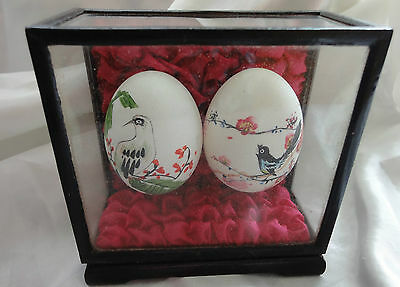 Two Hand Painted Chinese Eggs in a Case