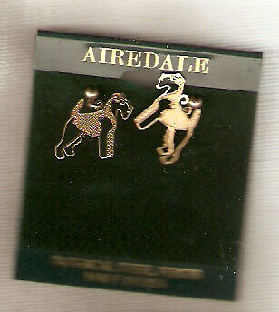 Airedale Terrier Goldtone Post Earrings Surgical Steel Jewelry