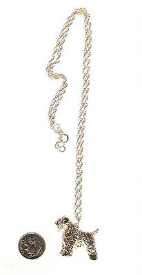 """Soft Coated Wheaten Terrier Gold Plated Pendant Necklace Jewelry on 20"""" Chain"""