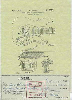 Leo Fender Signed 1968 Check & Stratocaster Patent Picture w/Stub Inventor Strat