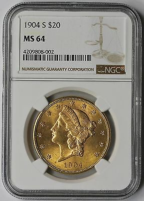 1904-S Liberty Head Double Eagle Gold $20 MS 64 NGC