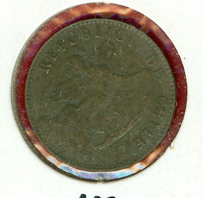 Chile 1908 20 Centavos--Circulated--Silver