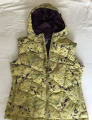 Women's Size 14 ISIS Hooded Feather-light Goose Down Vest Yellow, Eggplant