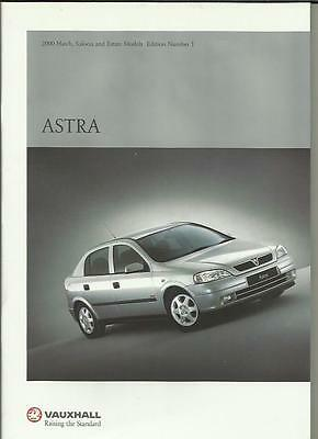 Vauxhall Astra Hatch, Saloon & Estate Models Car Brochure November 1999 For 2000
