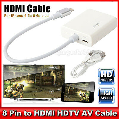 8 Pin Lightning To HDMI Cable HDTV AV Adapter For Apple iPad Mini iPhone 7 Plus