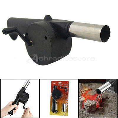 Cooking BBQ Fan Air Blower For Barbecue Fire Bellows Hand Crank Tool Picnic BBQ